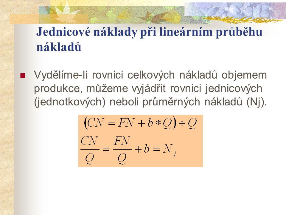 Jednicové náklady při lineárním průběhu nákladů Vydělíme-li rovnici celkových nákladů objemem produkce, můžeme vyjádřit rovnici jednicových (jednotkov