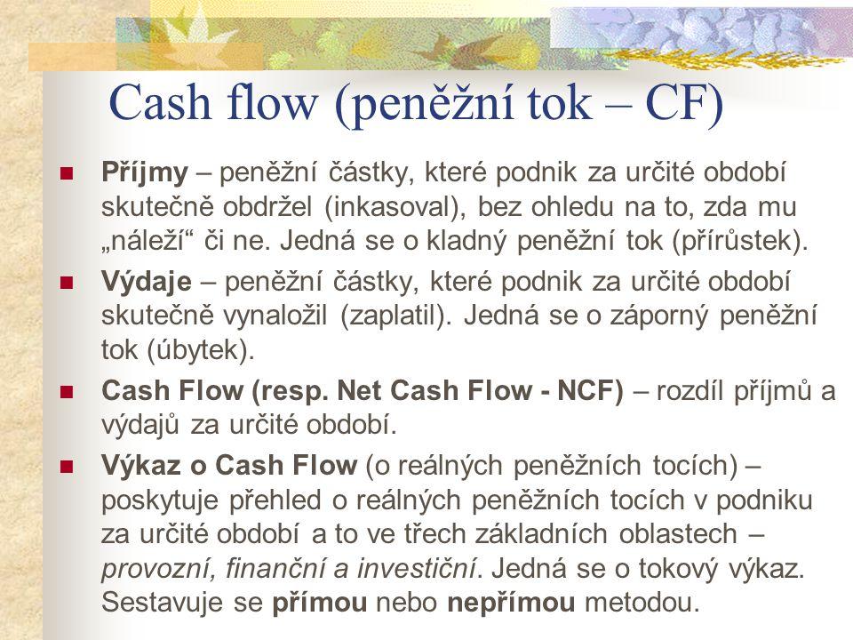 Cash flow (peněžní tok – CF) Přímá metoda – představuje zjištění všech příjmů a výdajů v podniku za dané období a jejich rozdílem zjistíme změnu CF.