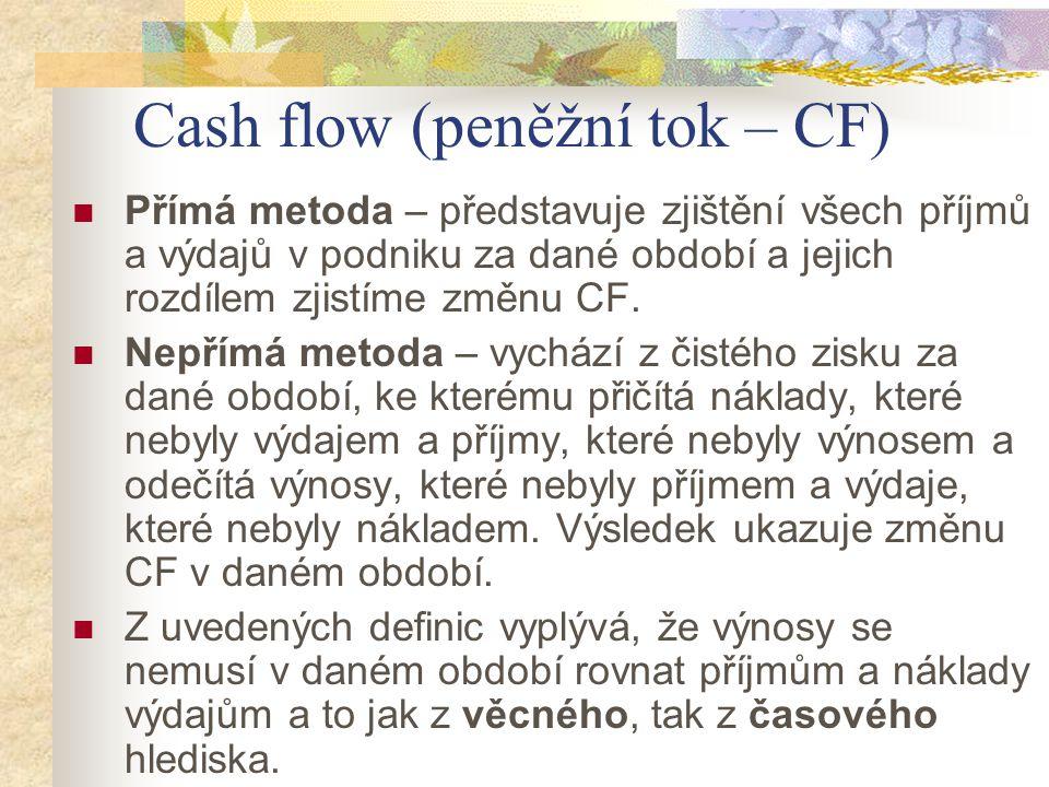 Cash flow (peněžní tok – CF) Přímá metoda – představuje zjištění všech příjmů a výdajů v podniku za dané období a jejich rozdílem zjistíme změnu CF. N