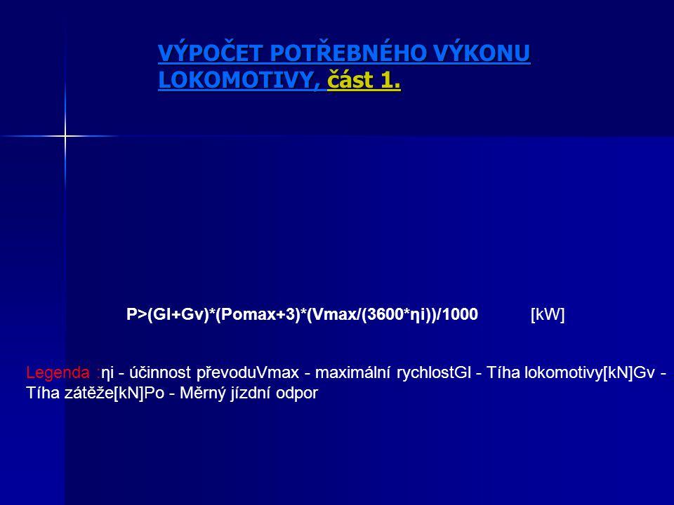 P>(Gl+Gv)*(Pomax+3)*(Vmax/(3600*ηi))/1000[kW] Legenda :ηi - účinnost převoduVmax - maximální rychlostGl - Tíha lokomotivy[kN]Gv - Tíha zátěže[kN]Po - Měrný jízdní odpor VÝPOČET POTŘEBNÉHO VÝKONU LOKOMOTIVY, část 1.