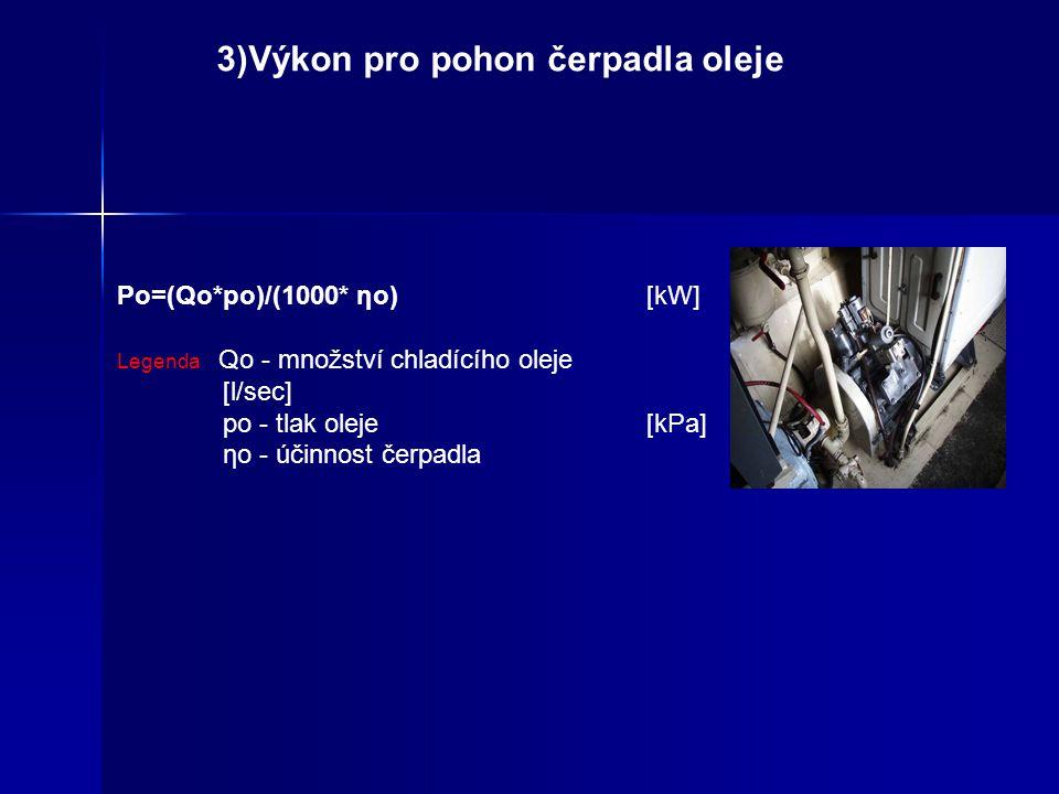 2) Výkon pro pohon ventilátoru chladiče Pch=(Qch*pc)/ ηch(kW) Legenda: Qch - množství vzduchu chladiče [m3/min] pc - tlak vzduchu ηch - účinnost