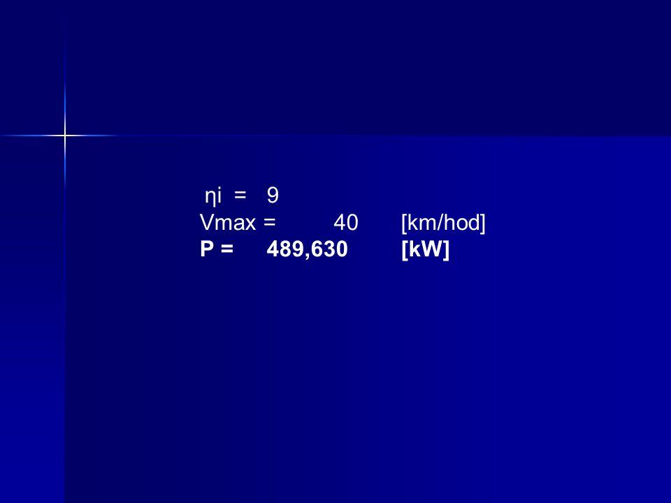 ηi =9 Vmax =40[km/hod] P =489,630[kW]