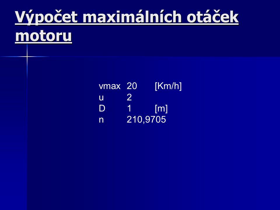 Výpočet maximálních otáček motoru vmax20[Km/h] u2 D1[m] n210,9705