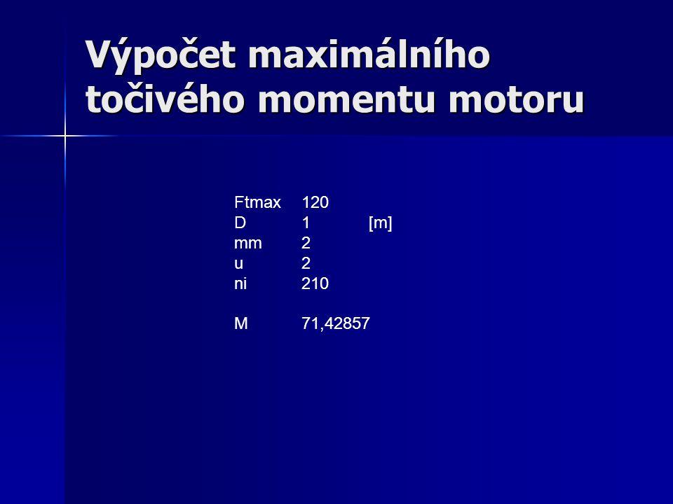 Výpočet maximálního točivého momentu motoru Ftmax120 D1[m] mm2 u2 ni210 M71,42857