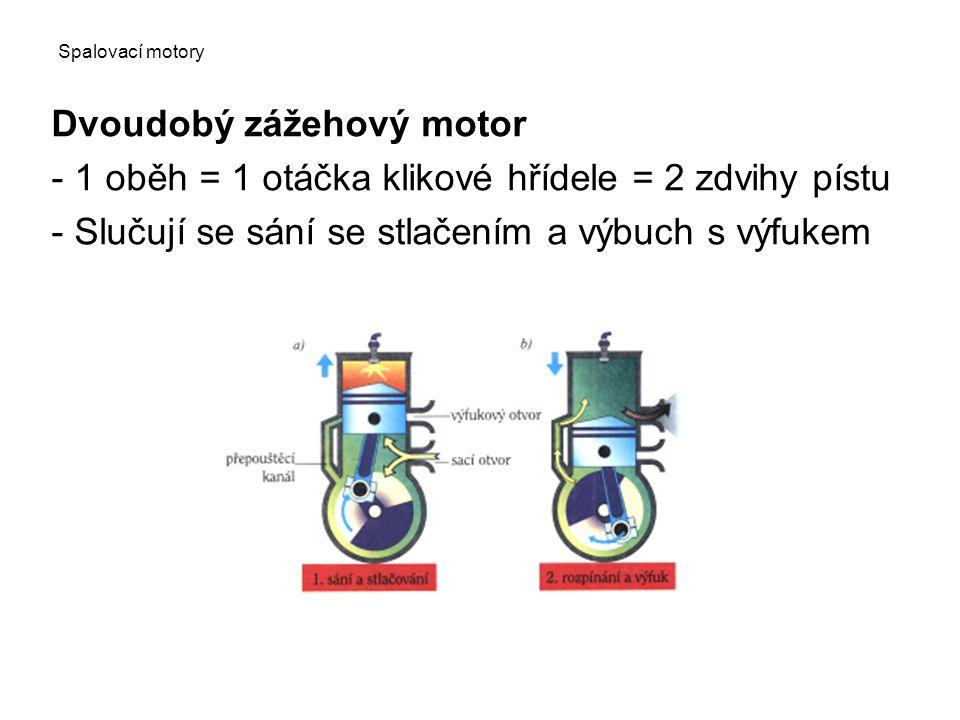 Spalovací motory Dvoudobý zážehový motor - 1 oběh = 1 otáčka klikové hřídele = 2 zdvihy pístu - Slučují se sání se stlačením a výbuch s výfukem