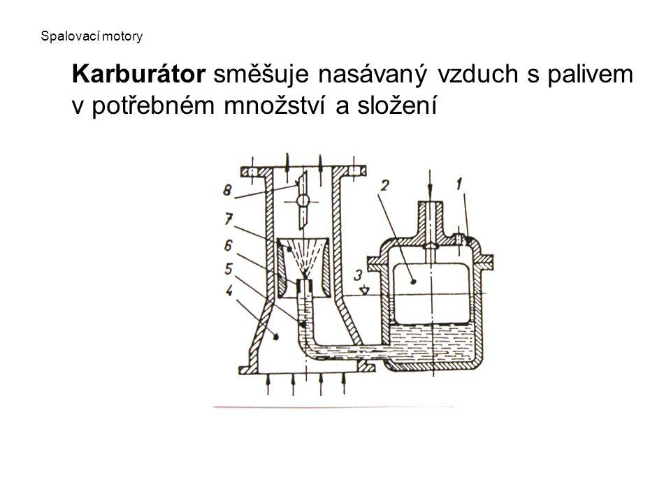 Karburátor směšuje nasávaný vzduch s palivem v potřebném množství a složení