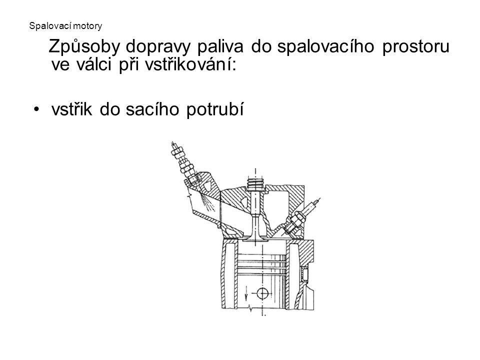 Spalovací motory Způsoby dopravy paliva do spalovacího prostoru ve válci při vstřikování: vstřik do sacího potrubí