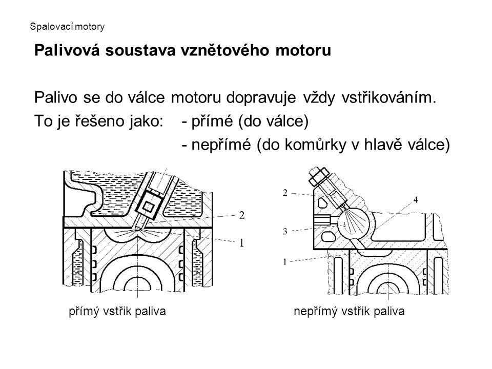 Spalovací motory Palivová soustava vznětového motoru Palivo se do válce motoru dopravuje vždy vstřikováním. To je řešeno jako:- přímé (do válce) - nep