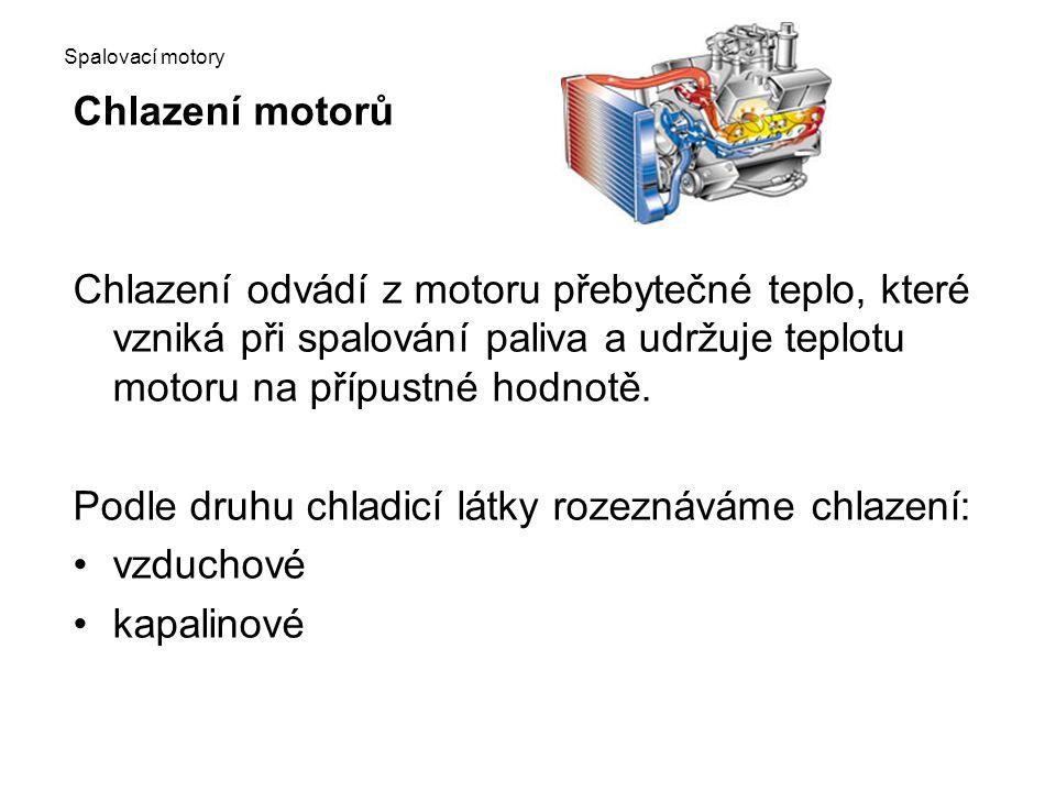 Spalovací motory Chlazení motorů Chlazení odvádí z motoru přebytečné teplo, které vzniká při spalování paliva a udržuje teplotu motoru na přípustné ho
