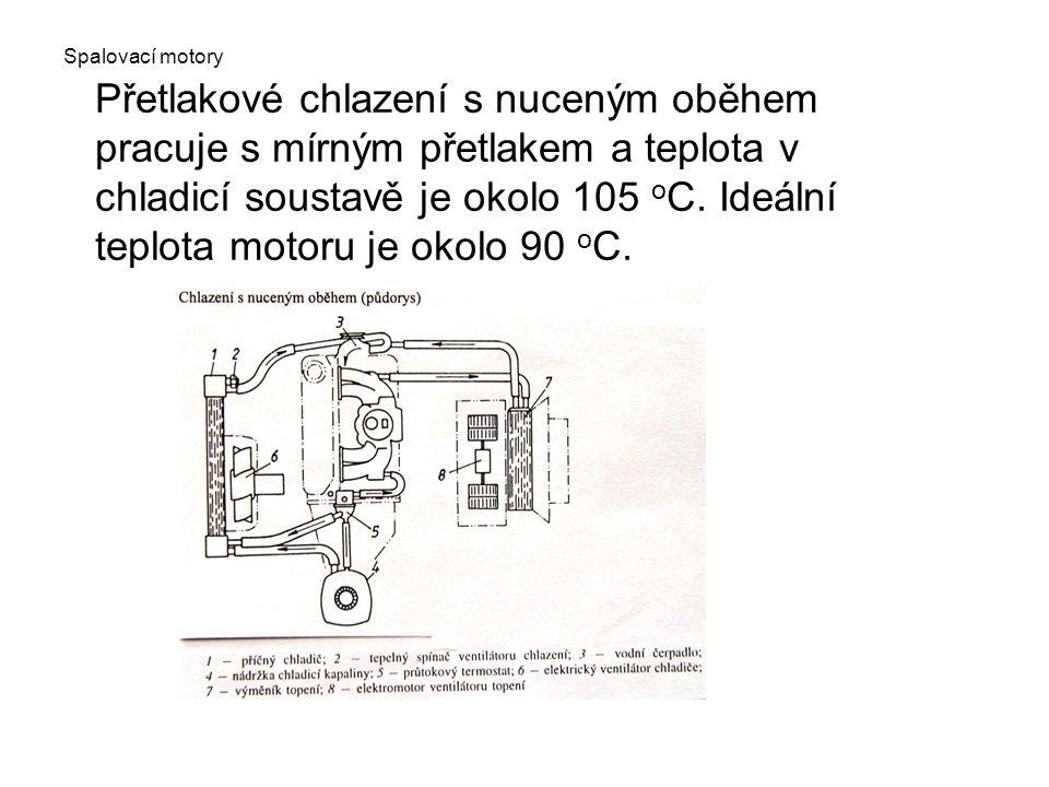 Spalovací motory Přetlakové chlazení s nuceným oběhem pracuje s mírným přetlakem a teplota v chladicí soustavě je okolo 105 o C. Ideální teplota motor
