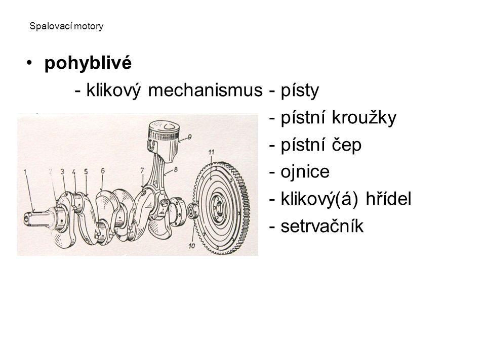 Spalovací motory pohyblivé - klikový mechanismus- písty - pístní kroužky - pístní čep - ojnice - klikový(á) hřídel - setrvačník