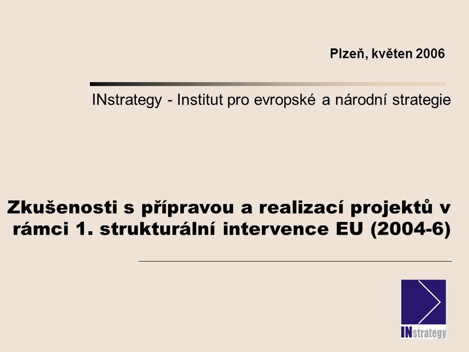 INstrategy - Institut pro evropské a národní strategie Zkušenosti s přípravou a realizací projektů v rámci 1.