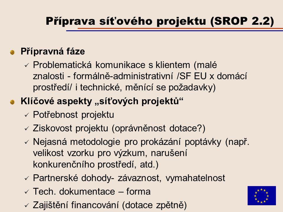 """Příprava síťového projektu (SROP 2.2) Přípravná fáze Problematická komunikace s klientem (malé znalosti - formálně-administrativní /SF EU x domácí prostředí/ i technické, měnící se požadavky) Klíčové aspekty """"síťových projektů Potřebnost projektu Ziskovost projektu (oprávněnost dotace ) Nejasná metodologie pro prokázání poptávky (např."""