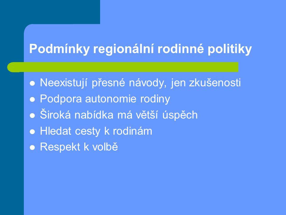 Podmínky regionální rodinné politiky Neexistují přesné návody, jen zkušenosti Podpora autonomie rodiny Široká nabídka má větší úspěch Hledat cesty k r