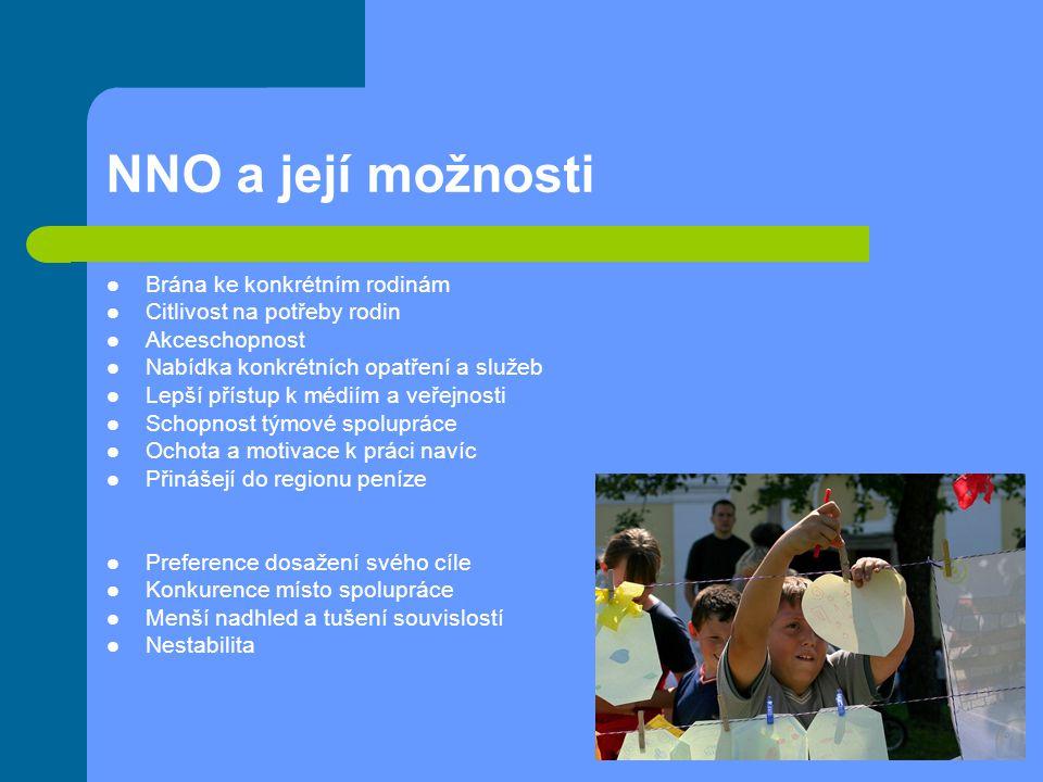 NNO a její možnosti Brána ke konkrétním rodinám Citlivost na potřeby rodin Akceschopnost Nabídka konkrétních opatření a služeb Lepší přístup k médiím