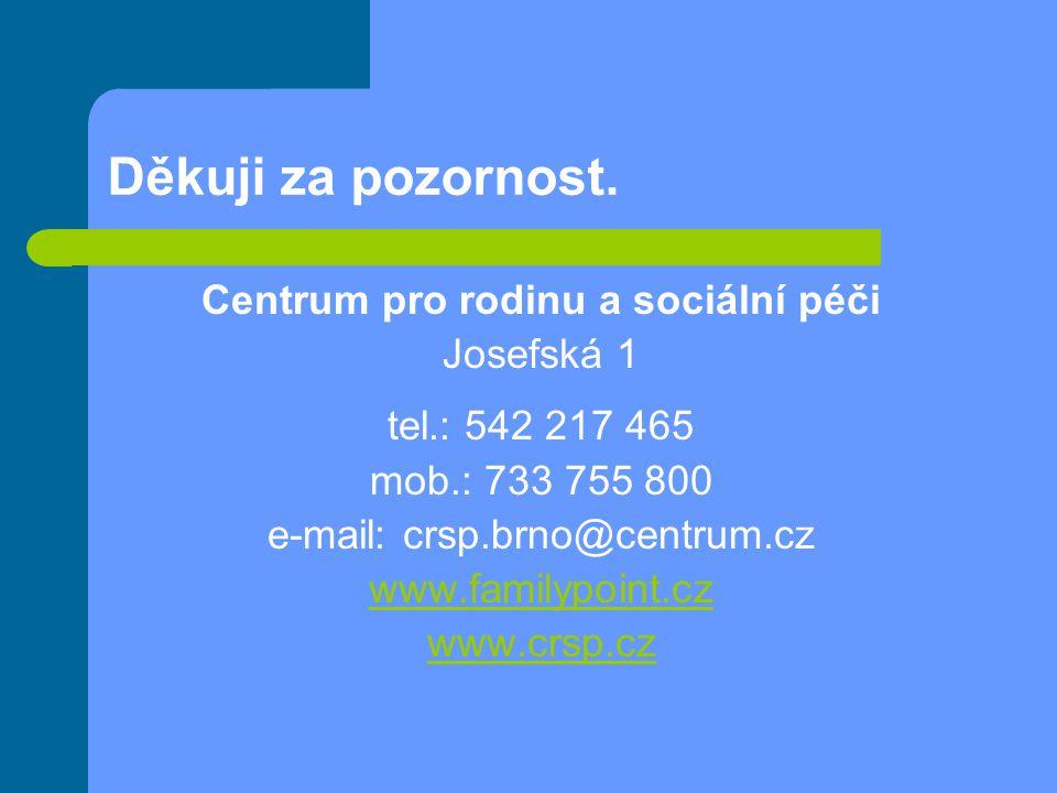 Děkuji za pozornost. Centrum pro rodinu a sociální péči Josefská 1 tel.: 542 217 465 mob.: 733 755 800 e-mail: crsp.brno@centrum.cz www.familypoint.cz