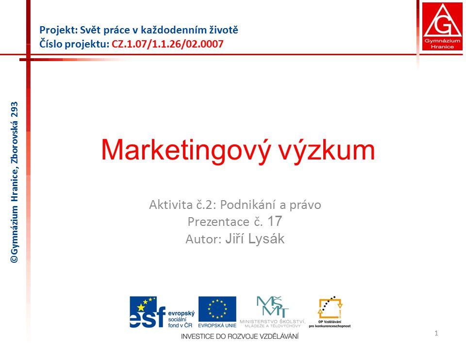 Marketingový výzkum Aktivita č.2: Podnikání a právo Prezentace č.