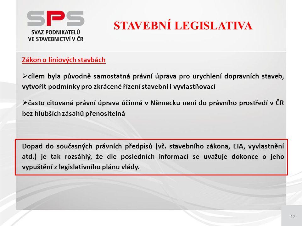 12 Zákon o liniových stavbách  cílem byla původně samostatná právní úprava pro urychlení dopravních staveb, vytvořit podmínky pro zkrácené řízení stavební i vyvlastňovací  často citovaná právní úprava účinná v Německu není do právního prostředí v ČR bez hlubších zásahů přenositelná Dopad do současných právních předpisů (vč.