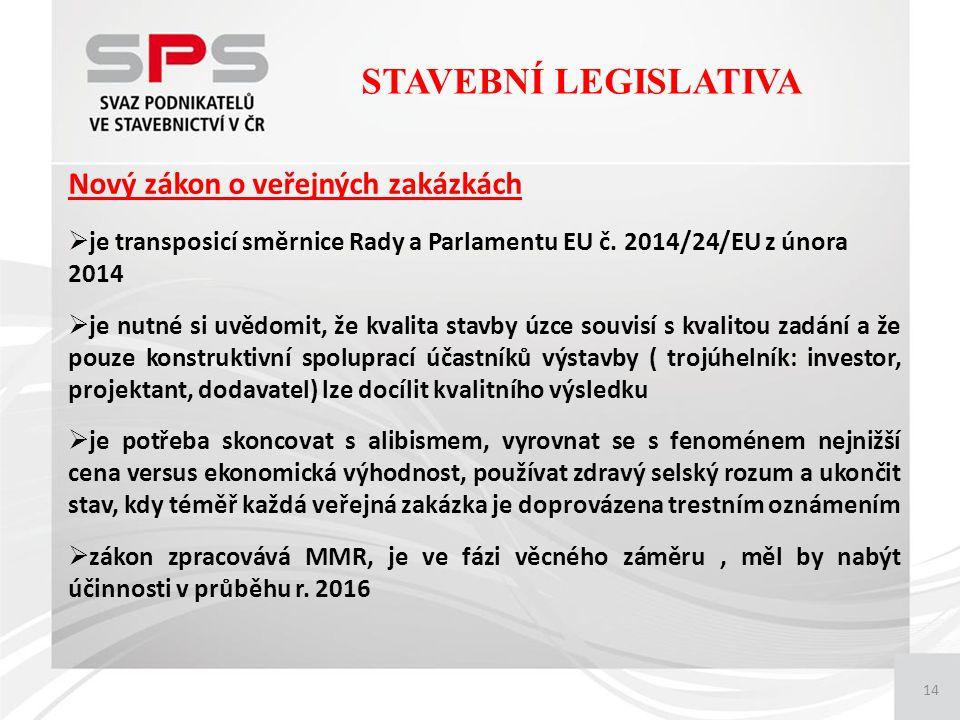 14 Nový zákon o veřejných zakázkách  je transposicí směrnice Rady a Parlamentu EU č.