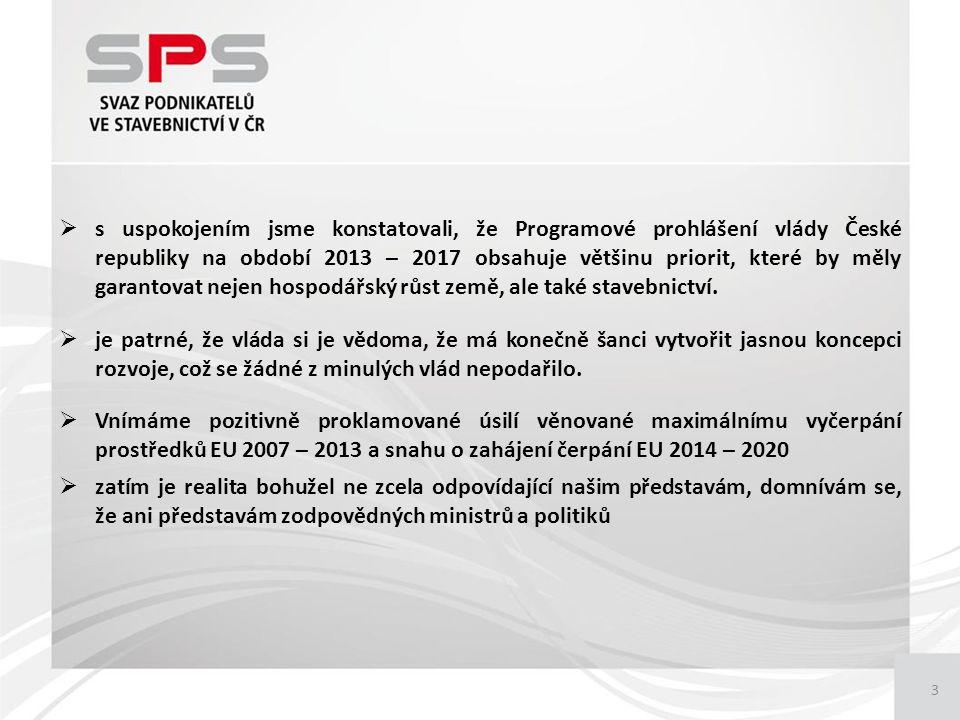 3  s uspokojením jsme konstatovali, že Programové prohlášení vlády České republiky na období 2013 – 2017 obsahuje většinu priorit, které by měly garantovat nejen hospodářský růst země, ale také stavebnictví.