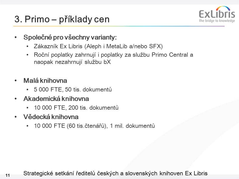 11 Strategické setkání ředitelů českých a slovenských knihoven Ex Libris 3. Primo – příklady cen Společné pro všechny varianty: Zákazník Ex Libris (Al