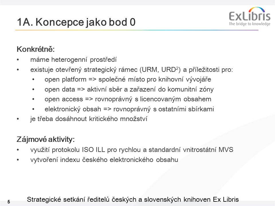 5 Strategické setkání ředitelů českých a slovenských knihoven Ex Libris 1A. Koncepce jako bod 0 Konkrétně: máme heterogenní prostředí existuje otevřen