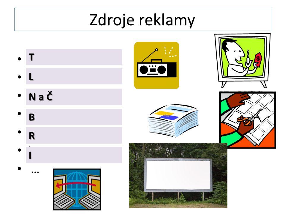 Zdroje reklamy TV Letáky Noviny a časopisy Bilboardy Rádio Internet … T L N a Č B R I