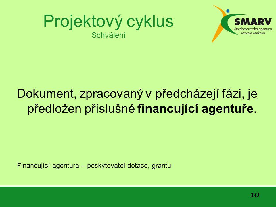 10 Projektový cyklus Schválení Dokument, zpracovaný v předcházejí fázi, je předložen příslušné financující agentuře.
