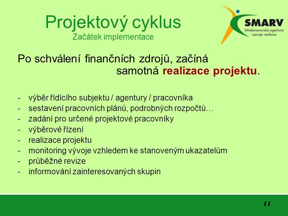 11 Projektový cyklus Začátek implementace Po schválení finančních zdrojů, začíná samotná realizace projektu.