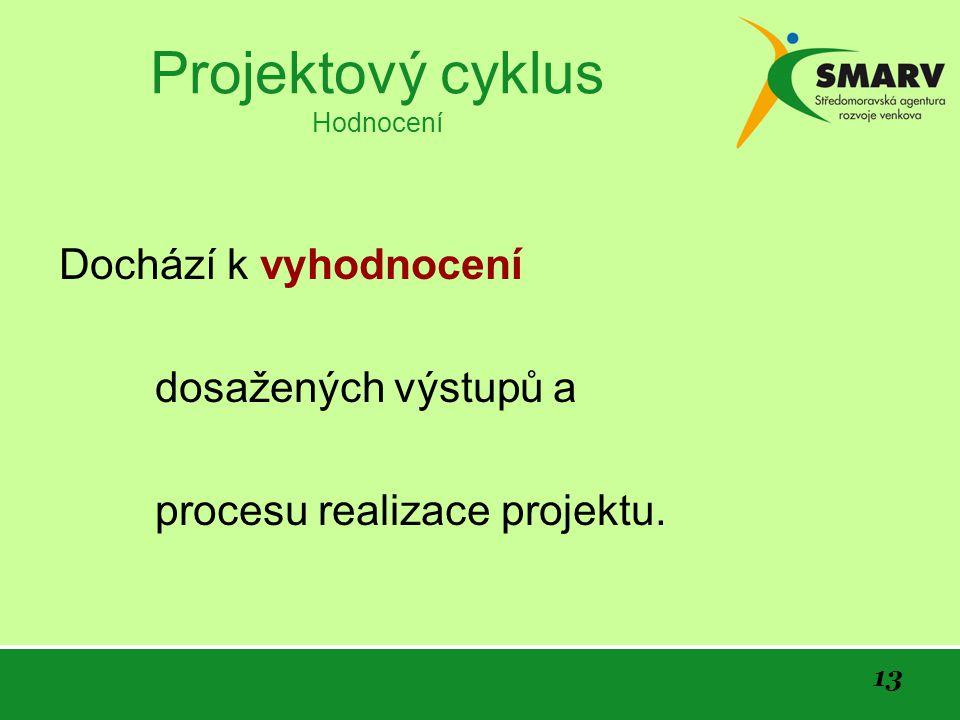 13 Projektový cyklus Hodnocení Dochází k vyhodnocení dosažených výstupů a procesu realizace projektu.