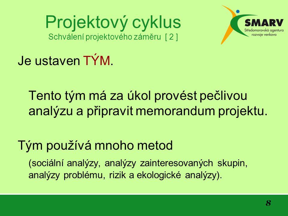 8 Projektový cyklus Schválení projektového záměru [ 2 ] Je ustaven TÝM.