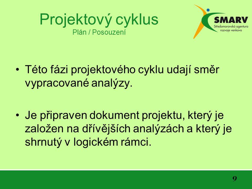 9 Projektový cyklus Plán / Posouzení Této fázi projektového cyklu udají směr vypracované analýzy.