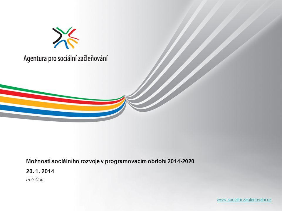 www.socialni-zaclenovani.cz JAK budou tato témata řešena: rozvoj aktivní politiky zaměstnanosti; podpory sociálních podniků; podpora vzdělávání, rozšíření nabídky rekvalifikací a specifických forem zvyšování kvality znalostí a dovedností; podpora malého a středního podnikání; podpora zvyšování kvality a flexibility v poskytování sociálních služeb, uplatnění preventivních programů v ohrožených oblastech a strategického plánování, dostupnost nájemního bydlení.