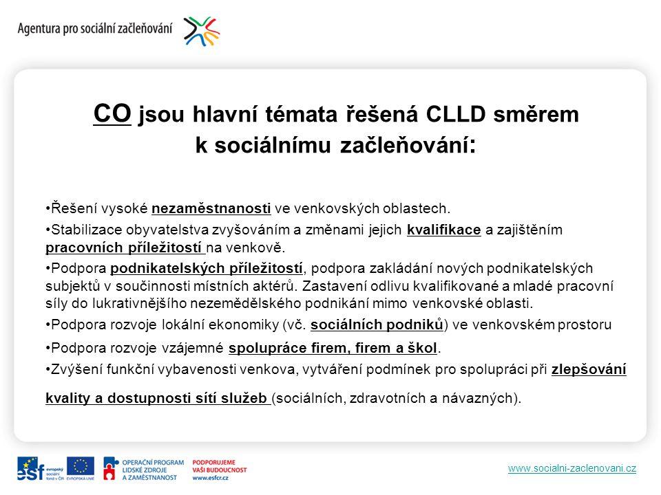 www.socialni-zaclenovani.cz CO jsou hlavní témata řešená CLLD směrem k sociálnímu začleňování : Řešení vysoké nezaměstnanosti ve venkovských oblastech