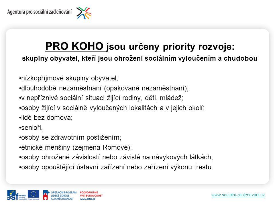 www.socialni-zaclenovani.cz PRO KOHO jsou určeny priority rozvoje: skupiny obyvatel, kteří jsou ohroženi sociálním vyloučením a chudobou nízkopříjmové