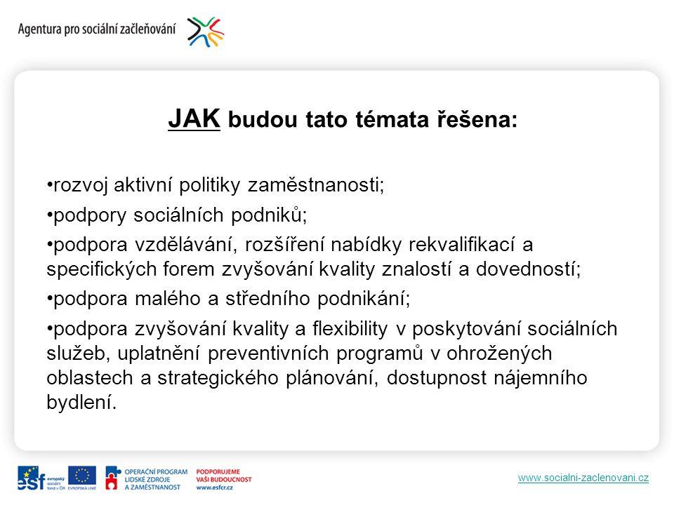 www.socialni-zaclenovani.cz JAK budou tato témata řešena: rozvoj aktivní politiky zaměstnanosti; podpory sociálních podniků; podpora vzdělávání, rozší