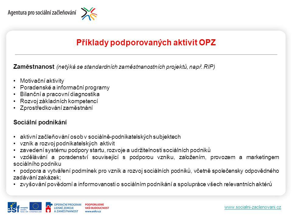 www.socialni-zaclenovani.cz Příklady podporovaných aktivit OPZ Zaměstnanost (netýká se standardních zaměstnanostních projektů, např. RIP) Motivační ak