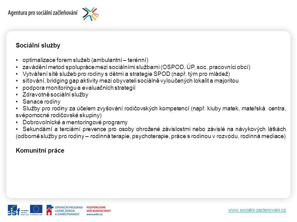 www.socialni-zaclenovani.cz Sociální služby optimalizace forem služeb (ambulantní – terénní) zavádění metod spolupráce mezi sociálními službami (OSPOD