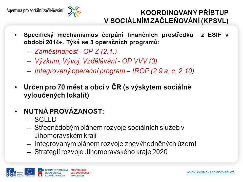 www.socialni-zaclenovani.cz KOORDINOVANÝ PŘÍSTUP V SOCIÁLNÍM ZAČLEŇOVÁNÍ (KPSVL) Specifický mechanismus čerpání finančních prostředků z ESIF v období