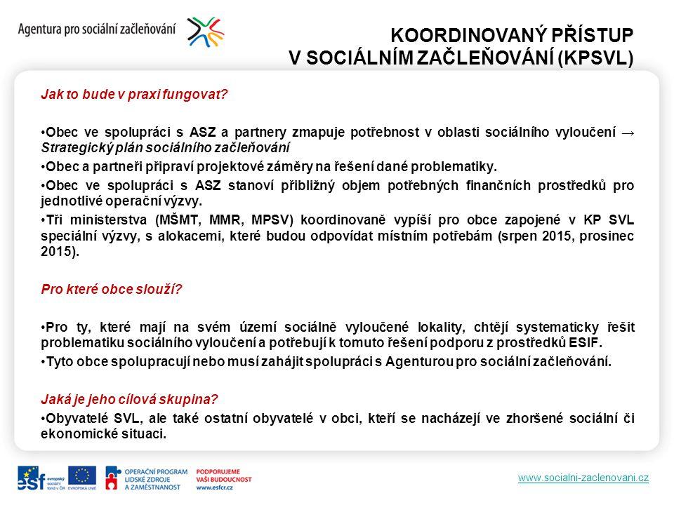 www.socialni-zaclenovani.cz KOORDINOVANÝ PŘÍSTUP V SOCIÁLNÍM ZAČLEŇOVÁNÍ (KPSVL) Jak to bude v praxi fungovat? Obec ve spolupráci s ASZ a partnery zma
