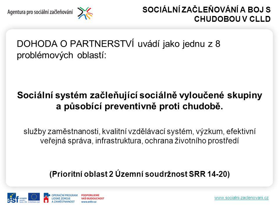 www.socialni-zaclenovani.cz DOHODA O PARTNERSTVÍ PRO PROGRAMOVÉ OBDOBÍ 2014–2020 Hlavním cílem využití CLLD je posílení územní soudržnosti venkovského území a zajištění dlouhodobého udržitelného rozvoje území.