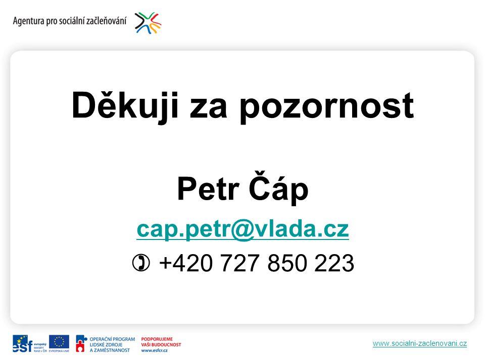 www.socialni-zaclenovani.cz Děkuji za pozornost Petr Čáp cap.petr@vlada.cz  +420 727 850 223