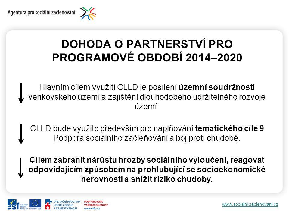 www.socialni-zaclenovani.cz DOHODA O PARTNERSTVÍ PRO PROGRAMOVÉ OBDOBÍ 2014–2020 Hlavním cílem využití CLLD je posílení územní soudržnosti venkovského