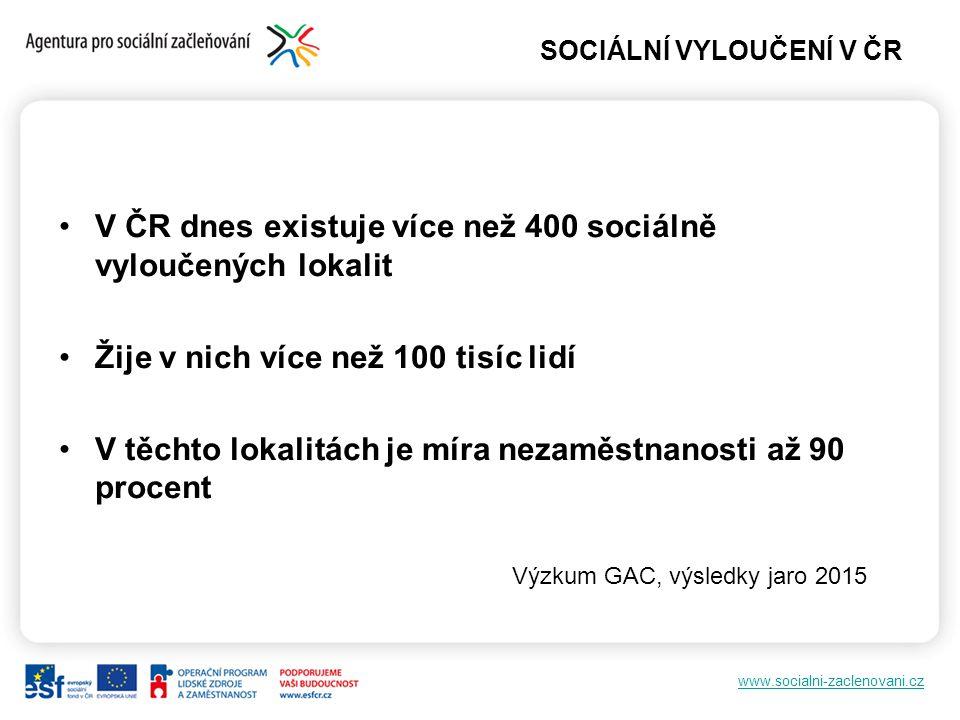 SOCIÁLNÍ VYLOUČENÍ V ČR V ČR dnes existuje více než 400 sociálně vyloučených lokalit Žije v nich více než 100 tisíc lidí V těchto lokalitách je míra n