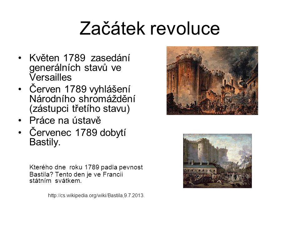 Začátek revoluce Květen 1789 zasedání generálních stavů ve Versailles Červen 1789 vyhlášení Národního shromáždění (zástupci třetího stavu) Práce na ústavě Červenec 1789 dobytí Bastily.