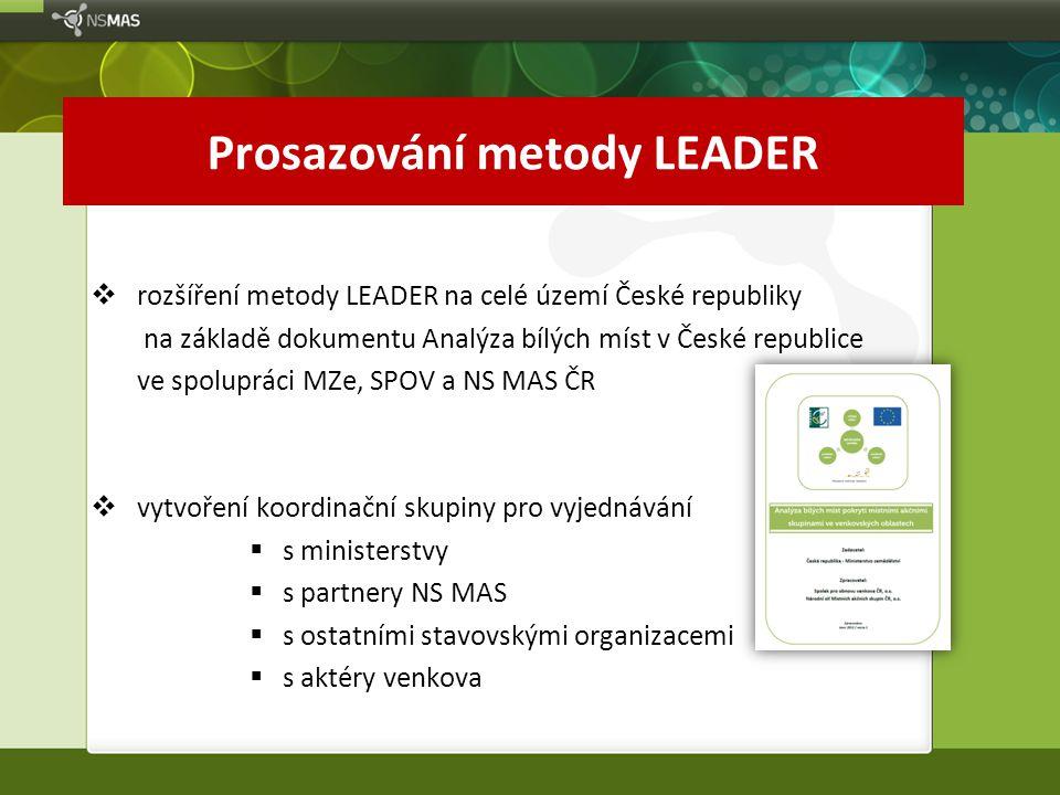 Prosazování metody LEADER  rozšíření metody LEADER na celé území České republiky na základě dokumentu Analýza bílých míst v České republice ve spolup