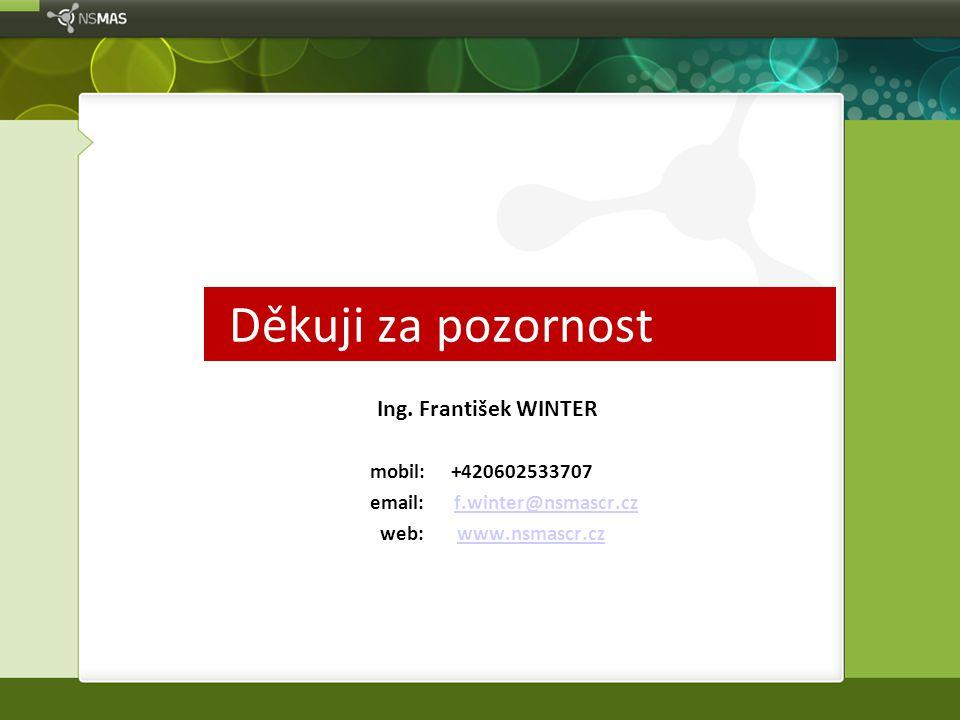 Děkuji za pozornost Ing. František WINTER mobil: +420602533707 email: f.winter@nsmascr.czf.winter@nsmascr.cz web: www.nsmascr.czwww.nsmascr.cz