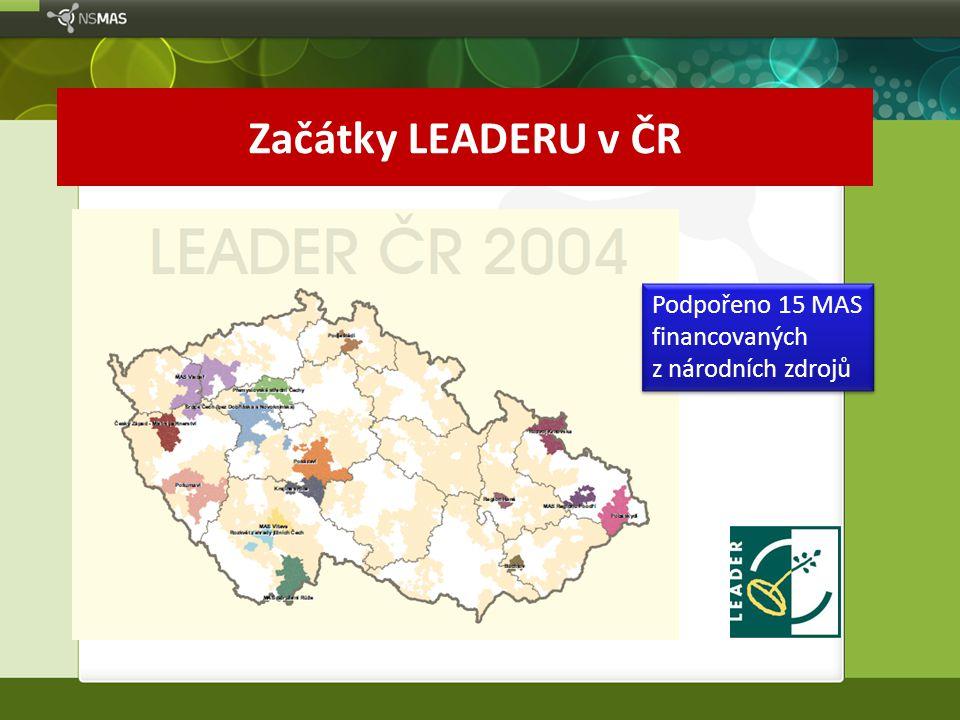 Začátky LEADERU v ČR Podpořeno 15 MAS financovaných z národních zdrojů Podpořeno 15 MAS financovaných z národních zdrojů