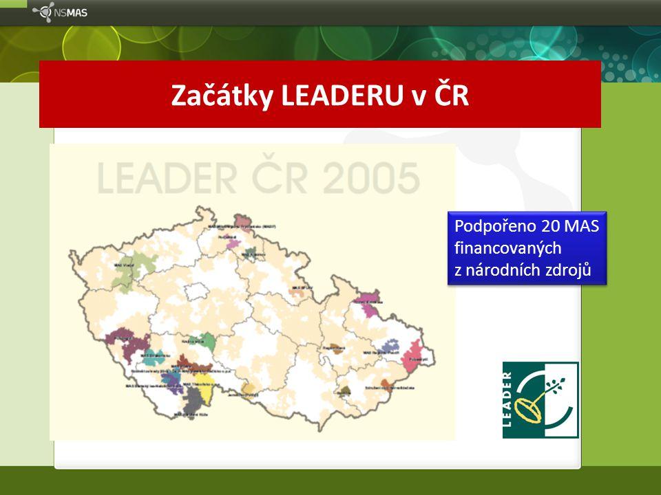 Začátky LEADERU v ČR Podpořeno 20 MAS financovaných z národních zdrojů Podpořeno 20 MAS financovaných z národních zdrojů