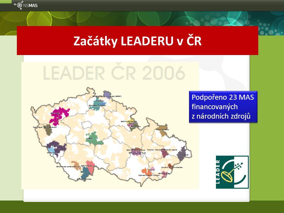 Začátky LEADERU v ČR Podpořeno 23 MAS financovaných z národních zdrojů Podpořeno 23 MAS financovaných z národních zdrojů
